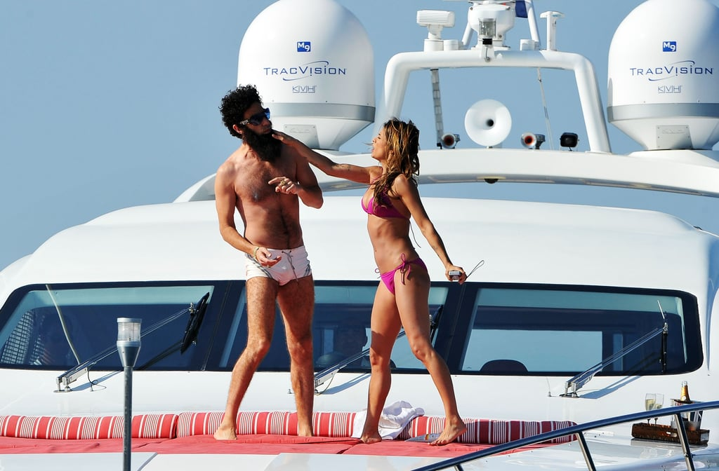 Sacha Baron Cohen and Elisabetta Canalis had a photo op on a yacht at the Cannes Film Festival.