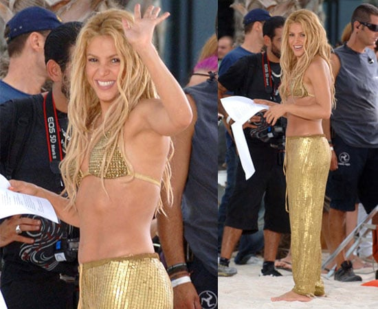 Pictures of Shakira in Gold Bikini Filming Music Video in Barcelona