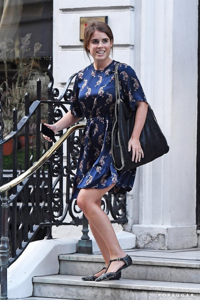 It's crunch time for Princess Eugenie and Jack Brooksbank. Set to wed on Oct. 12, the engaged couple were recently spotted leaving the storied Savile Row tailor shop in London, where Jack was likely sorting out the finishing touches on his suit. For the shopping trip, the 28-year-old royal wore a satin Sandro dress with a funky leopard print and accessorized the look with a Stella McCartney tote and classic black flats.  With such little time before the wedding, Eugenie has already chosen her wedding dress, although she's of course keeping that a secret until the big day. In the meantime, shop similar navy dresses that look a lot like her latest dress, but not the dress.       Related:                                                                                                           Princess Eugenie Knows Exactly How to Be the Best Dressed Wedding Guest