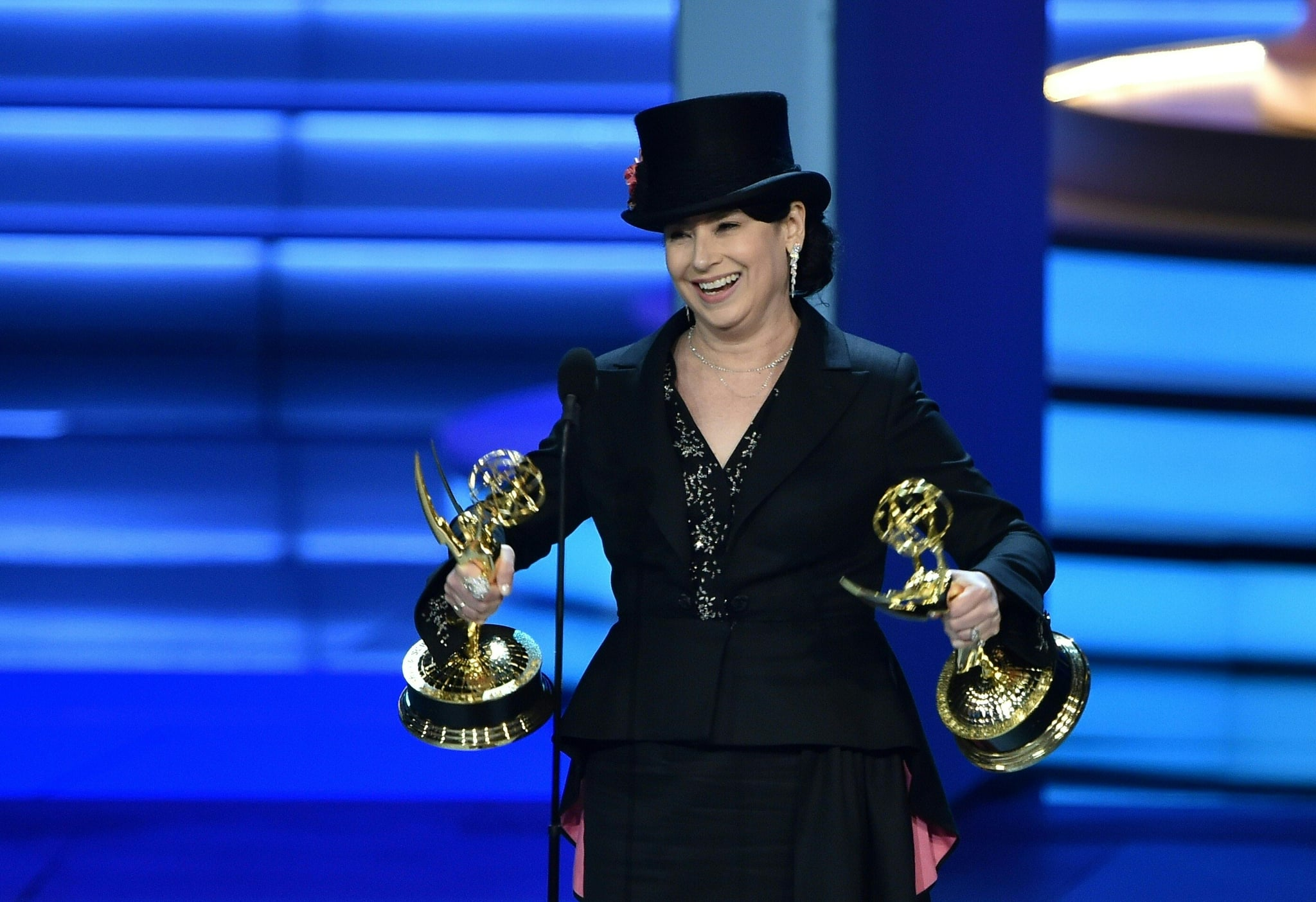 Amy Sherman-Palladino writing comedy series winner and directing comedy series winner onstage during the 70th Emmy Awards at the Microsoft Theatre in Los Angeles, California on September 17, 2018. (Photo by Robyn BECK / AFP)        (Photo credit should read ROBYN BECK/AFP/Getty Images)