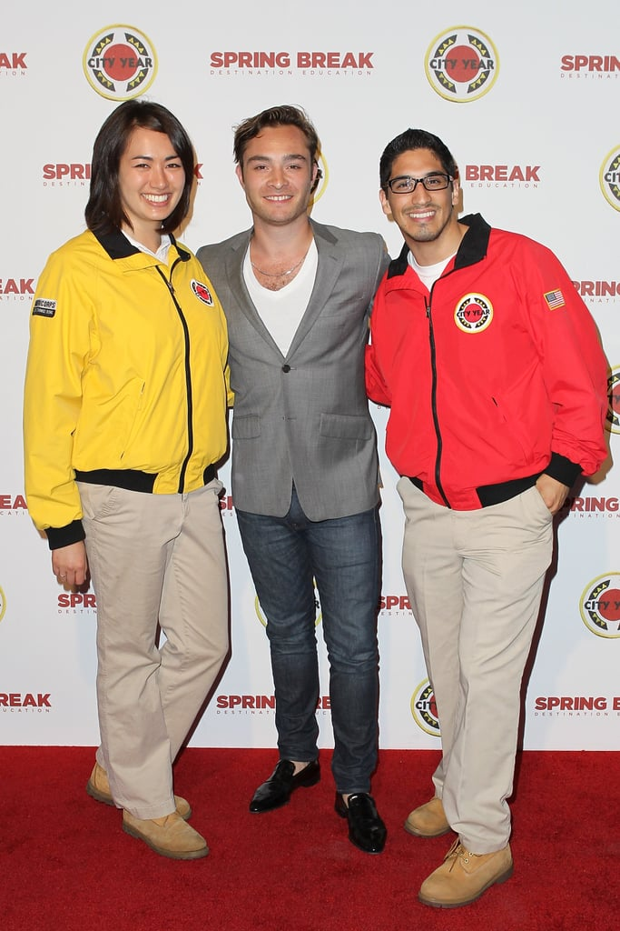 Ed Westwick arrived at City Year's education fundraiser party in LA on Saturday.