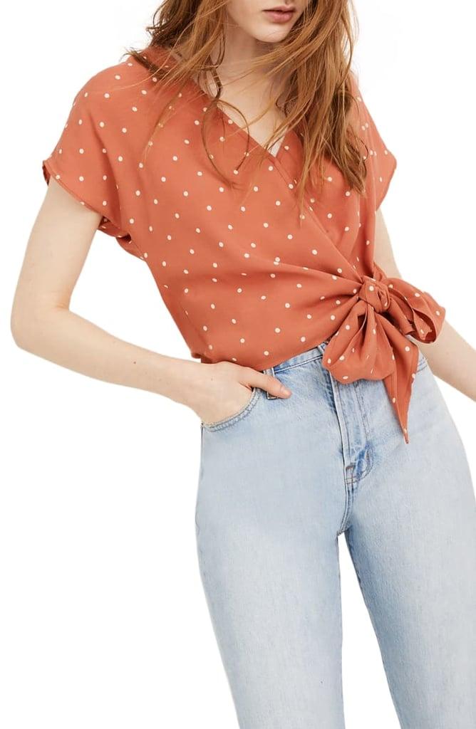 Madewell Polka Dot Sash Tie Wrap Top (Regular & Plus Size)