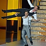 Neil Patrick Harris got a lift during his mid-show performance.