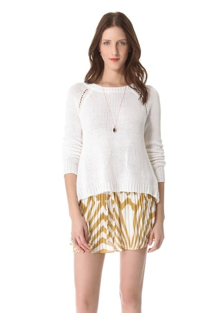 A lightweight sweater is a Spring must; BB Dakota's Spring sweater ($88) is a favorite for its easy, asymmetrical silhouette.