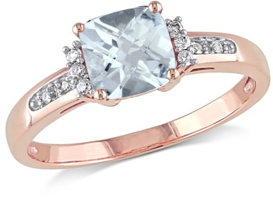 Zales 60mm CushionCut Aquamarine and Diamond Accent Engagement