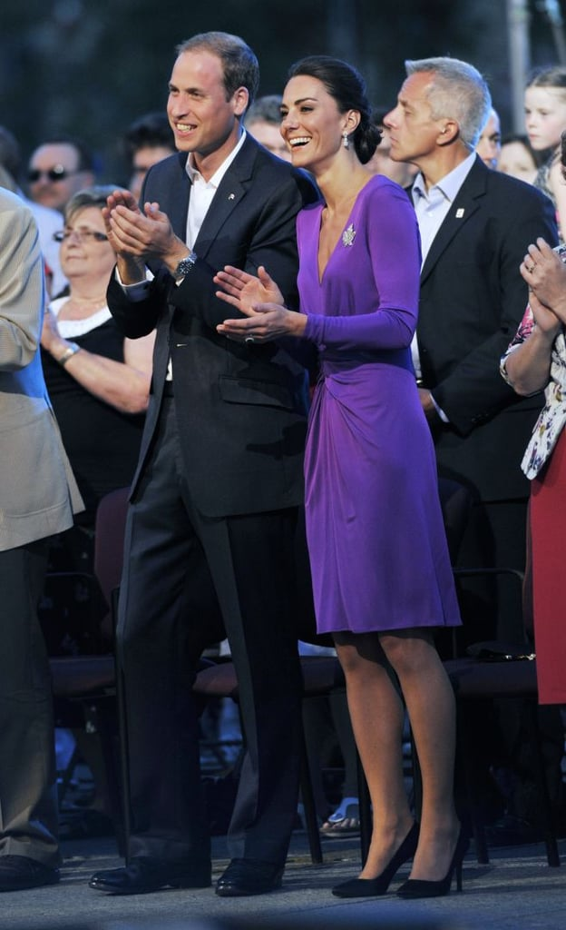 She chose a purple Issa dress for evening festivities during the couple's North American tour in July 2011.