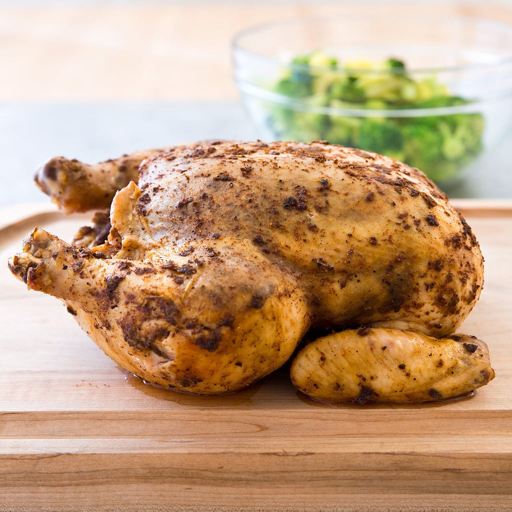 """Whole """"Roast"""" Spice-Rubbed Chicken With Lemony Steamed Broccoli"""