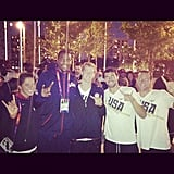 Kevin Durant posed with some Texas Longhorns at the athletes' Olympic Village. Source: Instagram user trey5