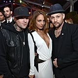 Nicole Richie found herself between Benji and Joel Madden at Elton John's annual Oscars viewing party in Feb. 2013.