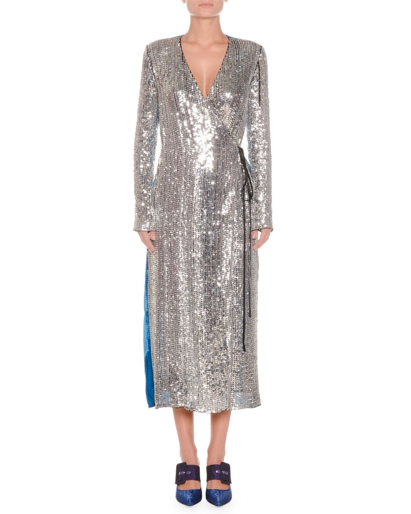 57df0956 Attico Long-Sleeve Sequin and Velvet Robe Wrap Cocktail Dress ...