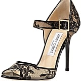 Jimmy Choo Lace Peep-Toe Mary Jane Pump ($775)