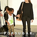 Angelina Jolie took her kids Zahara and Pax on a shopping trip to Urban Outfitters on Wednesday.