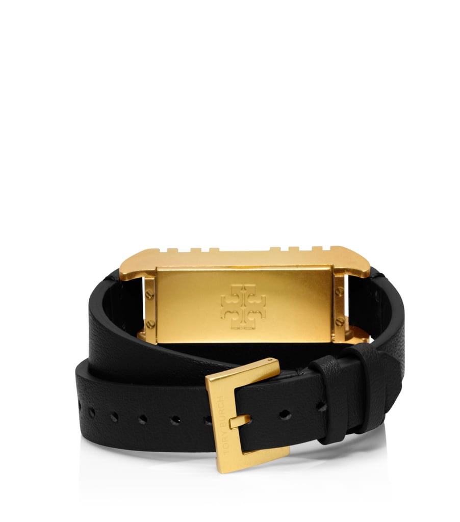 Tory Burch For Fitbit Fret Double-Wrap Bracelet in Black/Shiny Brass ($175)