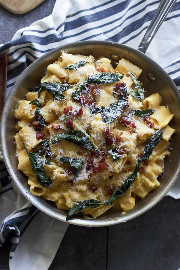 Butternut Squash Rigatoni With Pancetta, Brown Butter, and Sage