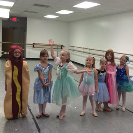 Girl Wears Hot Dog Costume to Dance Class Princess Day