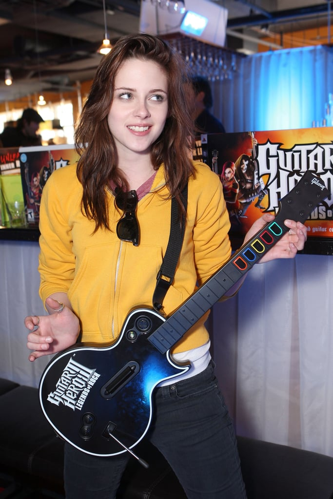 Kristen Stewart played Guitar Hero at a Fred Segal event in Park City, Utah, in January 2008 during the Sundance Film Festival.