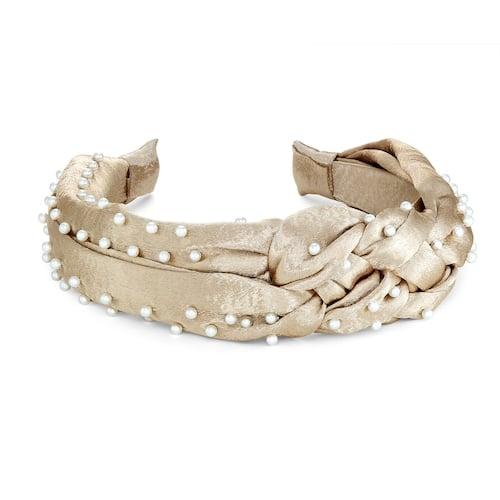 Braided Satin Pearl Headband