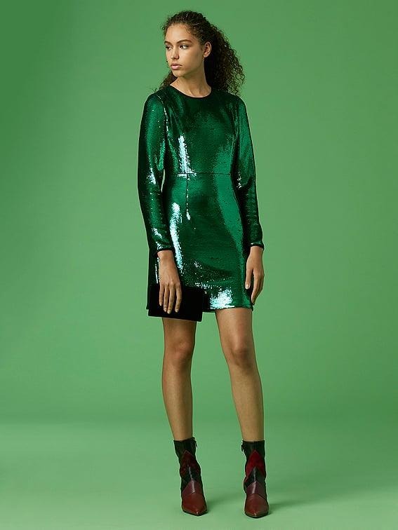 313460f856a Diane von Furstenberg Long-Sleeve Tailored Sequin Mini Dress