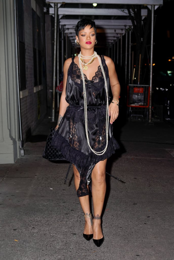 Rihanna Wearing a Vaquera Slip Dress to Carbone in NYC