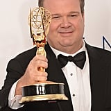 Emmy winner Eric Stonestreet held up his award.