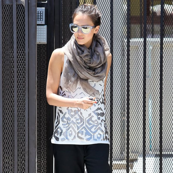 Jessica Alba Wearing a Sequin Printed Tank