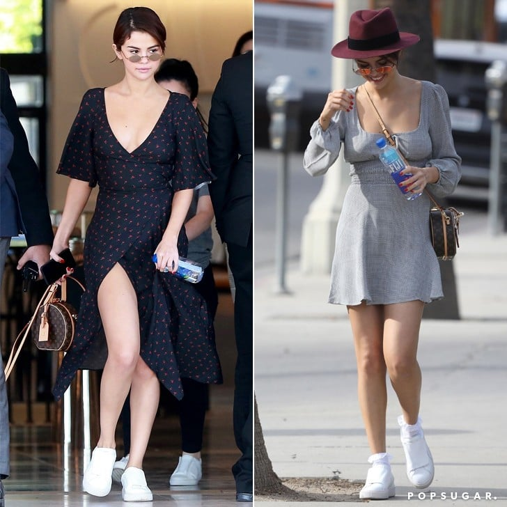 Selena Gomez Wearing Puma Sneakers and a Dress