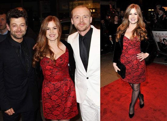 Isla Fisher, Simon Pegg and Andy Serkis at Burke and Hare Premiere in London