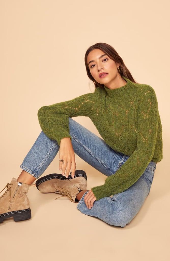 Reformation Pointelle Turtleneck Sweater