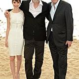 Danny Huston mingled on a beach with The Congress costar Sami Gayle and director Ari Folman.