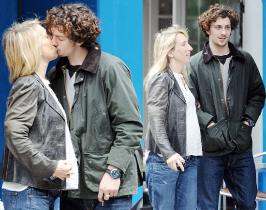 Photos of Sam Taylor-Wood and Aaron Johnson Kissing in North London