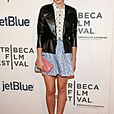 Emma Watson in Printed Miu Miu Skirt at 2012 Struck by Lightning NYC Premiere