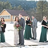 This Winter wedding featured bridesmaids in a deep green color.