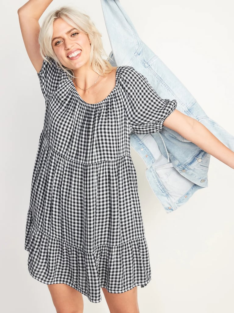 Old Navy Printed Puff-Sleeve Tiered Swing Dress