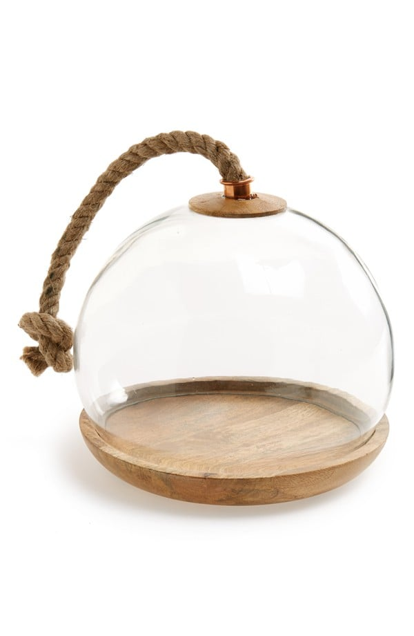 Glass Domed Wooden Serving Tray