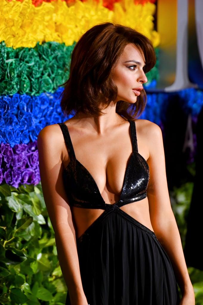 Emily Ratajkowski Black Dress at the Tony Awards 2019