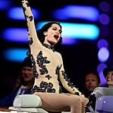 Jessie J wore a Vivienne Westood couture leotard with an appliqué sequin floral pattern for her first performance.