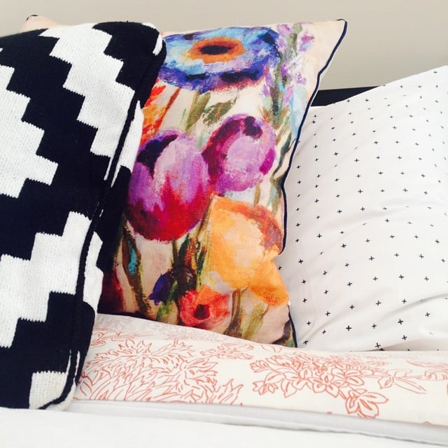 The find: this bright, floral pillow.