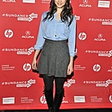 Troian Bellisario toughened up her smart style — button-down blouse and tweed miniskirt — with lace-up leather boots at the C.O.G. premiere.