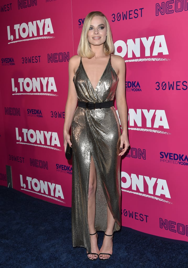 Margot wore a metallic front-slitted Versace dress with Jimmy Choo heels at the LA premiere of I, Tonya in December 2017.