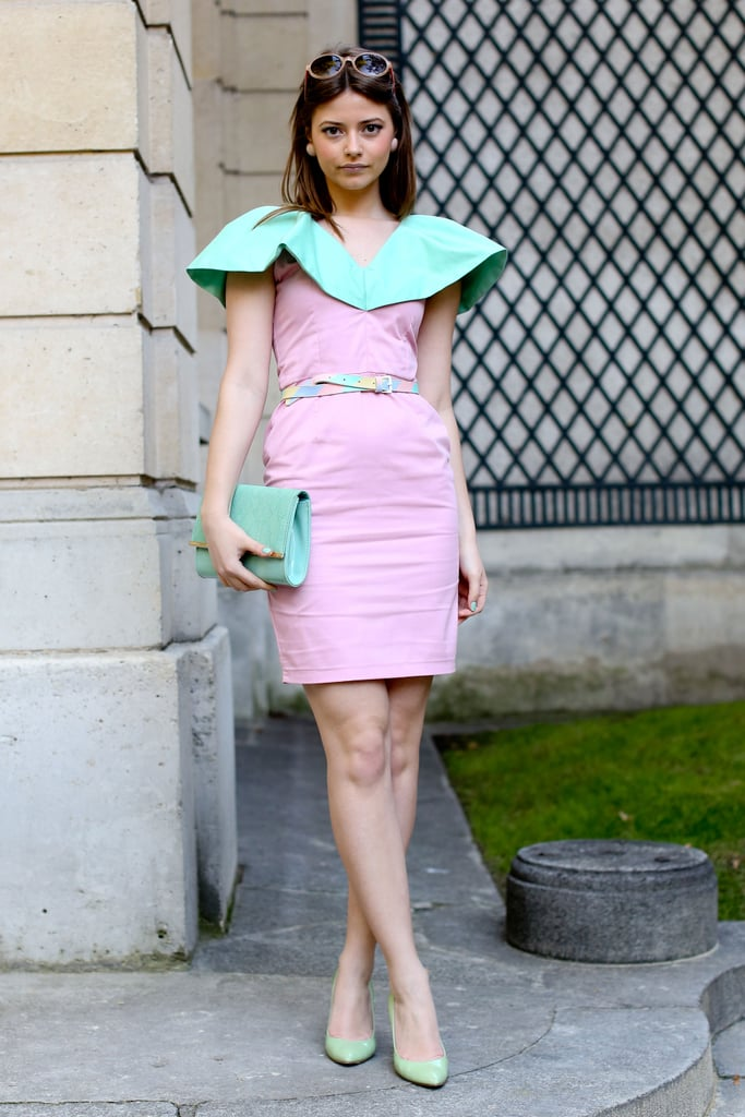 This little pastel dress wowed with a drama-inducing collar.