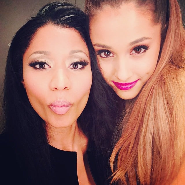 Nicki Minaj puckered up and Ariana Grande smiled for their sweet backstage snap before the ladies took the stage by storm.