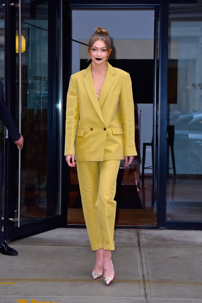 Styling a Derek Lam mustard-colored suit with EFFY Jewelry and Christian Louboutin pumps at the Being Serena premiere.