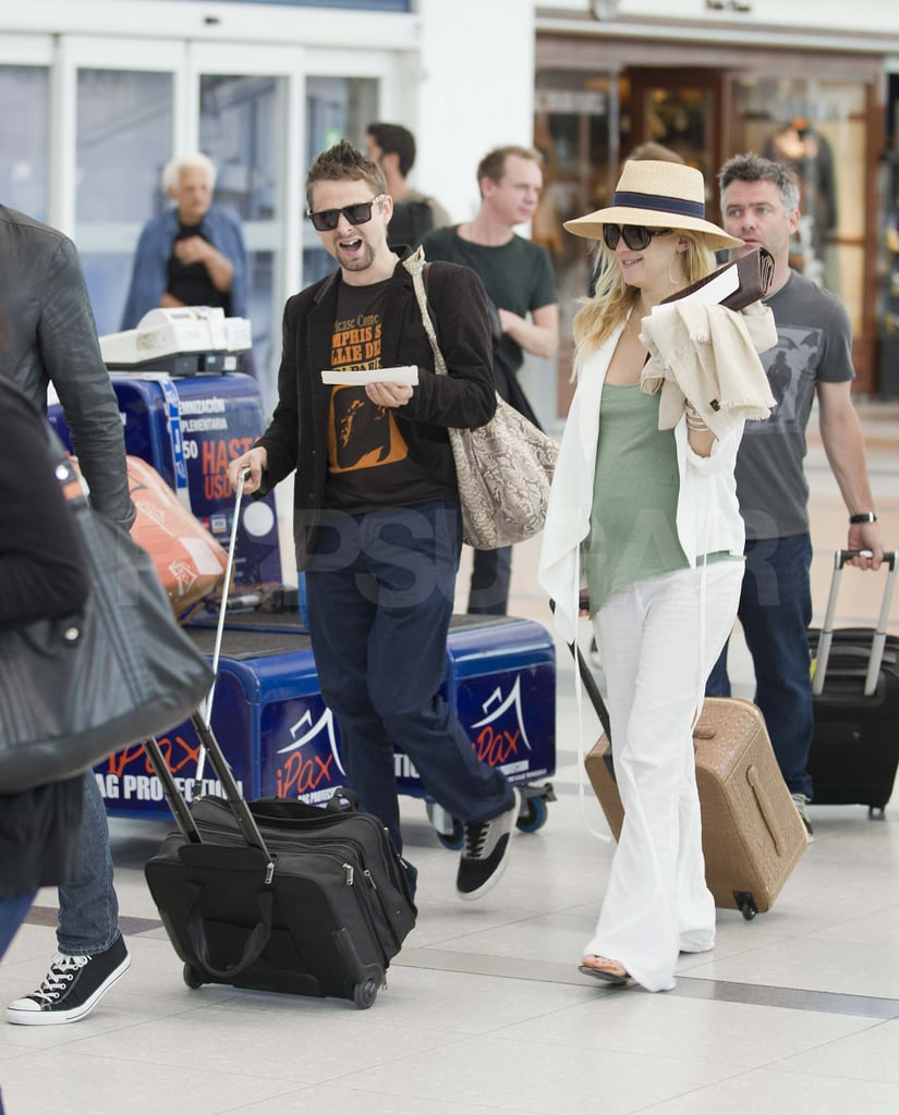 Kate Hudson and Matthew Bellamy arrived at the airport in Buenos Aires today. The couple spent the last few days in the Argentinian city while Matthew was there to perform with Muse. Kate's son, Ryder, was along for their fun daytime outings, which included a leisurely lunch and a stroll through an antique fair. Muse's next tour dates take them to Sao Paulo, Brazil, though Kate will have to return to LA soon to get started promoting Something Borrowed. The movie comes out in May, and one lucky I'm a Huge Fan winner will get to interview the star during the film's press junket, so stay tuned to see their adventure!