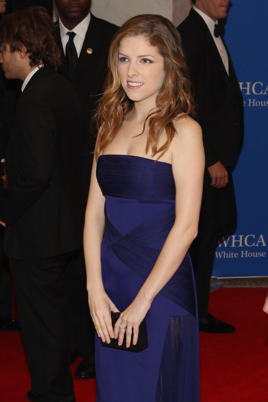 Anna Kendrick wore a blue dress.