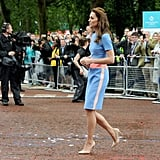 Kate Wore Neutral Accessories, Which Toned Down the Colorful Look