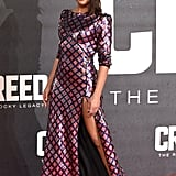 We don't know if it's the slit or the deep stare that has us loving this photo of Tessa at the Creed premiere in January 2016.