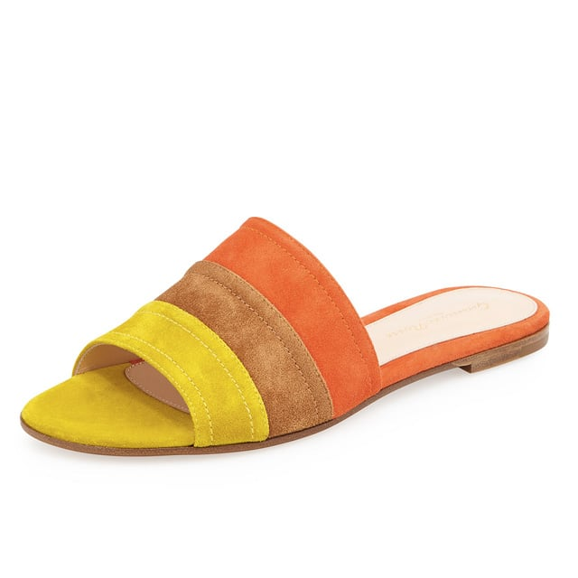 Gianvito Rossi Colorblock Suede Slide ($645)