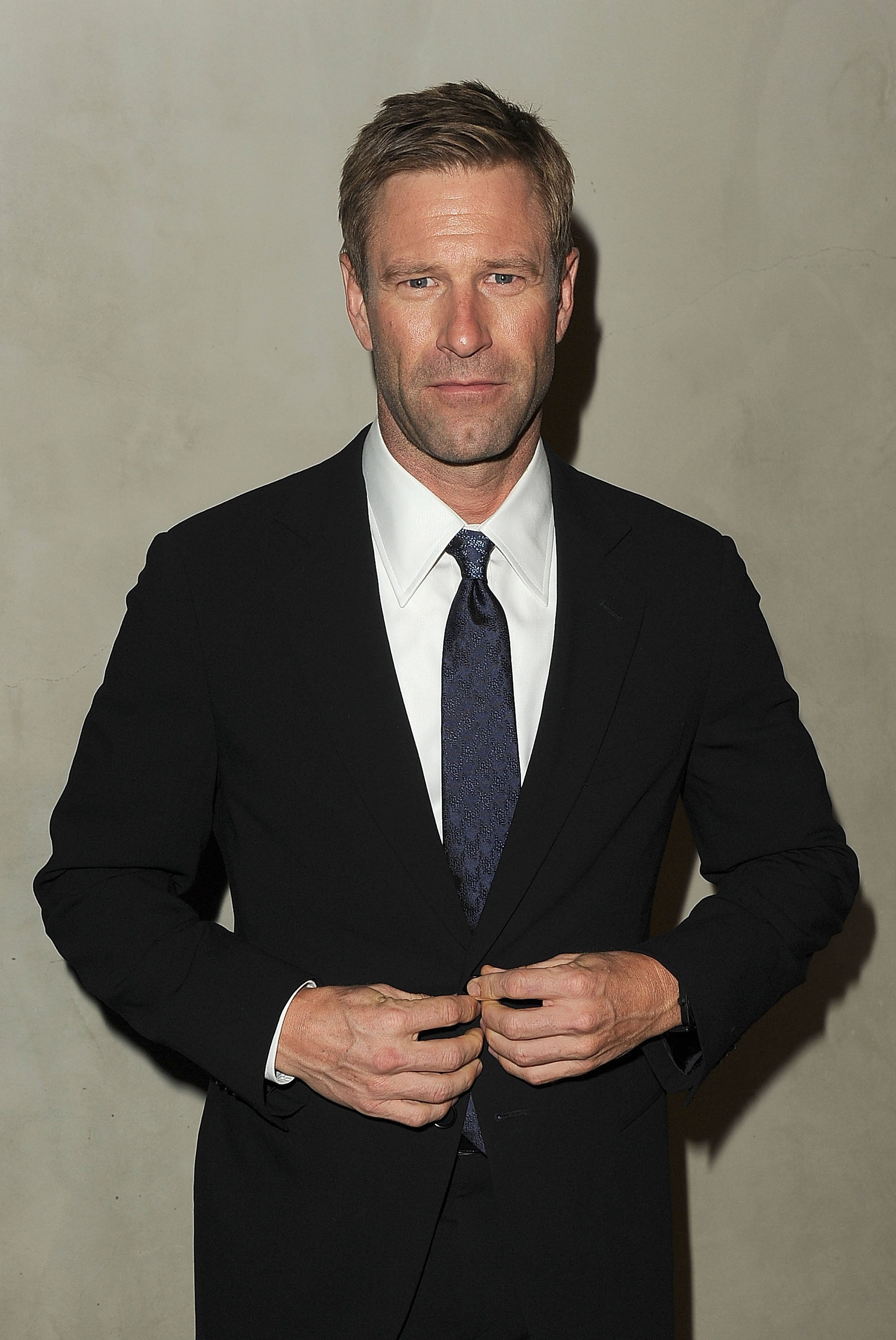 Aaron Eckhart made an appearance at a dinner for Armani and Vanity Fair in LA.