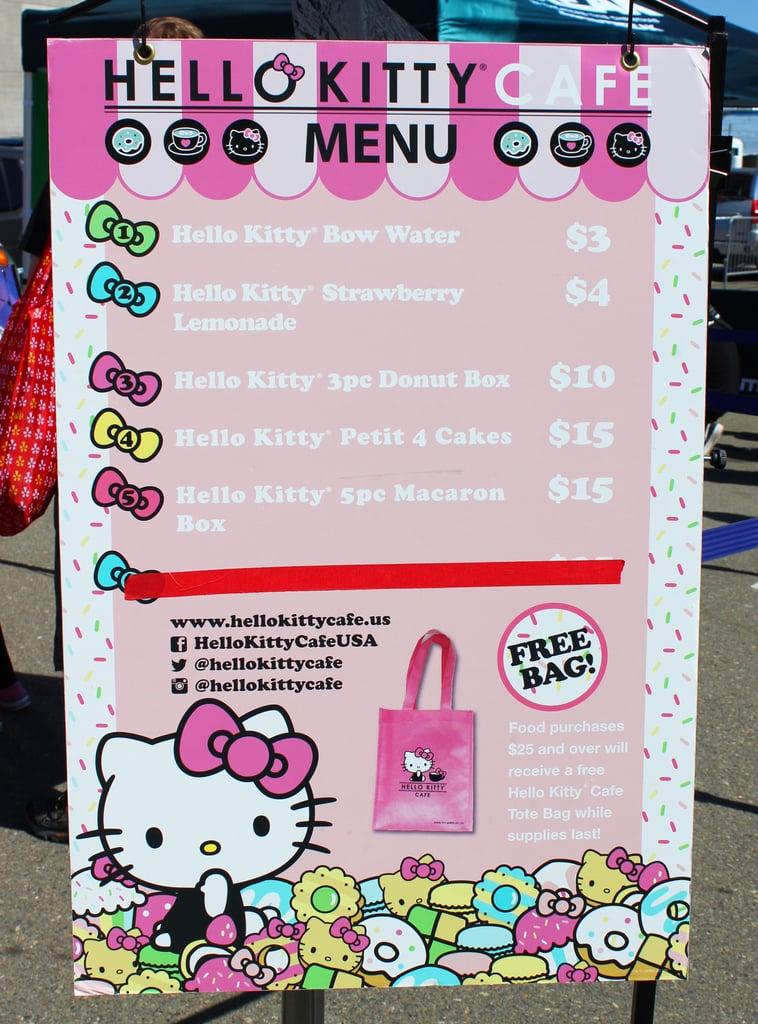 Hello Kitty Food Truck Menu