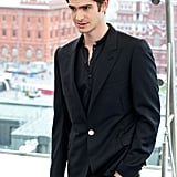 Andrew Garfield donned an all-black suit to pose in Moscow for The Amazing Spider-Man photocall in June 2012.